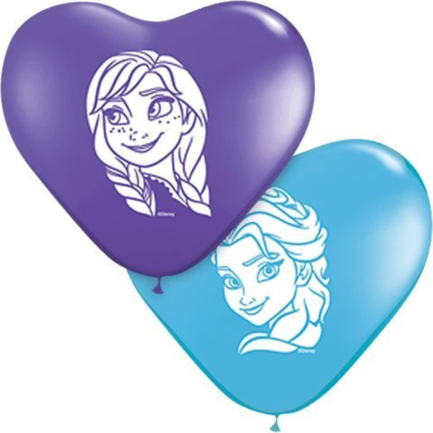 Qualatex 12932 Anna & Elsa Faces Assortment Latex Balloons, 6