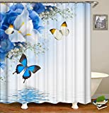 Fansu Duschvorhang Wasserdicht Anti-Schimmel Anti-Bakteriell, 3D Schmetterling Drucken 100prozent Polyester Bad Vorhang für Badzimmer mit C-Form Kunststoff Haken (B,120x180cm)