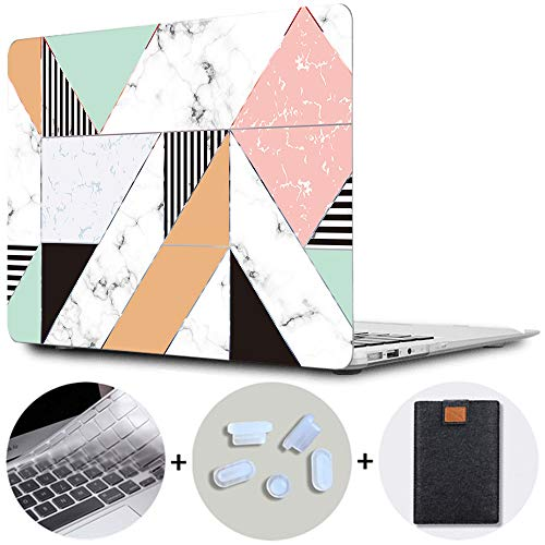 MAITTAO MacBook Pro 13 inch Case 2020/2019/2018/2017/2016 Release A2289/A2251/A2159/A1989/A1706/A1708 with/without Touch Bar Plastic Hard Shell & Laptop Sleeve & Keyboard Cover 4 in 1 Bundle,Marble 15