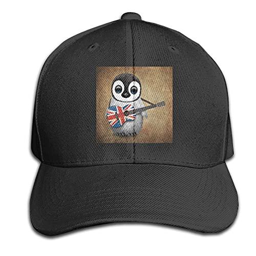 XCNGG Baby Pinguin spielt British Union Jack Flag Gitarrenkappen Vintage Sandwich Hut Sandwich Cap Peaked Trucker Dad Hüte