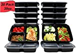 Prep Pro Meal Prep Containers [20 Pack] 39oz 3 Compartment with Lids, Microwave/Freezer/Dishwasher...