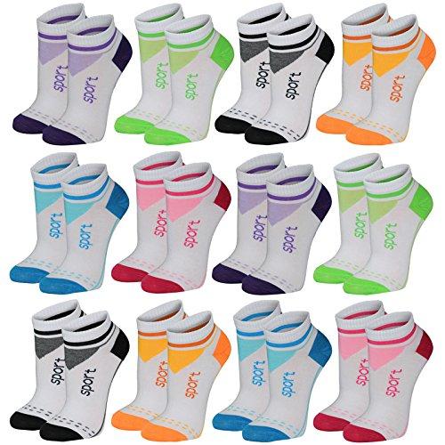 Lavazio 12 Paar modische Sneaker Socken Damen, Herren, Teenager schwarz, weiß, farbig, Größe:35-38, Farbe:12 Paar/Damen/No. 2035