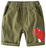 EULLA Jungen Shorts Sommer Baby Jungen Kinder Shorts Pants Buchstabe Hose Baby Hose,Shorts für Jungen,Kindershorts, Farbe armeegrün,Size EU 104 (UK/US 110)