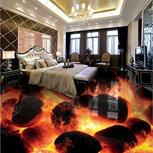 Lifme Murales De Suelo 3D Personalizados 3D Stereo Stones Flame Dormitorio Sala De Estar Autoadhesiva Impermeable 3D Baldosas De Suelo Fresco Wallpaper-350X250Cm