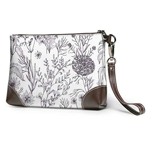 XCNGG Blühende Kräuter und krautige Pflanzen Bedruckte Clutch-Geldbörse Abnehmbare Leder-Wristlet-Brieftasche Damenhandtaschen Geldbeutel