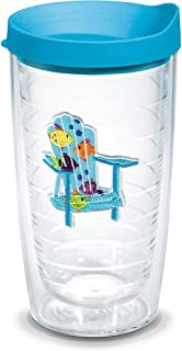 Tervis 1137803 Tropical Fish Adirondack Chair Tumbler with Emblem and Turquoise Lid 16oz, Clear