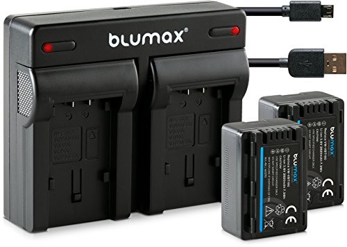 Blumax 2X Akku 2020mAh ersetzt Panasonic VW VBT190 E + Mini Dual-Ladegerät USB (Nicht für VXF11 VX11 V808) kompatibel mit HC VXF999 VX878 VX989 V160 V180 V270 V380 V777 W570 W580 WX97