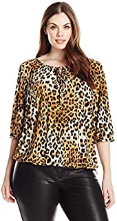 Star Vixen womens Plus-size 3/4 Sleeve Peasant Top With Keyhole Tie and Elastic Bottom Hem