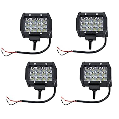 Cutequeen 4 X 36w 3600 Lumens Cree LED Flood Light for Off-road Rv Atv SUV Boat 4x4 Jeep Lamp Tractor Marine Off-road Lighting (pack of 4)