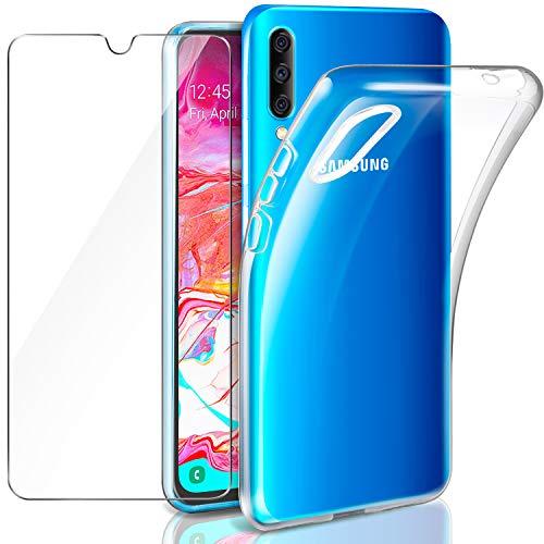 Leathlux Samsung Galaxy A70 Funda + Cristal Protector de Pantalla, Transparente TPU Silicona [Funda + Vidrio Templado] Ultra Fino Protector de Pantalla 9H Dureza HD Carcasas Samsung Galaxy A70