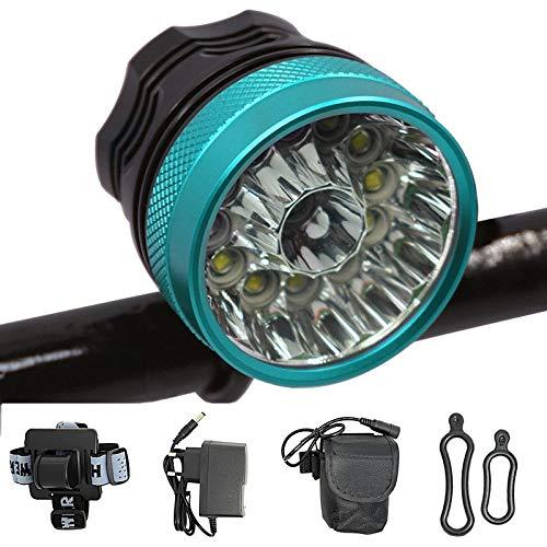 Luz Bicicleta 30000 Lúmenes 13 * Xml-T6 2 En 1 Faro Ciclismo Linterna Led Bicicleta Cabeza Lámpara para Montar De Noche Al Aire Libre-Diadema Azul 9600