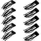 24 Piezas de Goma Dobles Clips de Agarre del Pelo del Metal Adornos para el Cabello Broche de Presión para la Toma de Pelo, Suministros Salon (Negro)