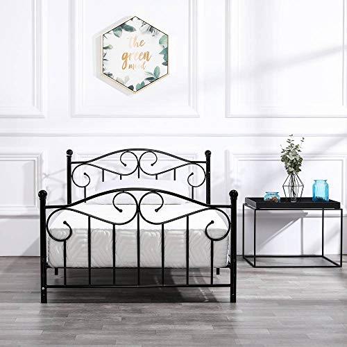 Bonnlo Twin Size Metal Bed Frame with Headboard and Footboard for Kids/Boys/Adult, No Box Spring Needed, Black