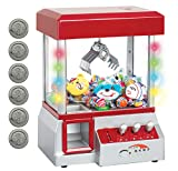 Bundaloo Claw Machine Arcade Game - Electronic Mini Candy and Toy Grabber Dispenser for Kids - with Lights Sound & 4 Mini Plush Animals (Red)
