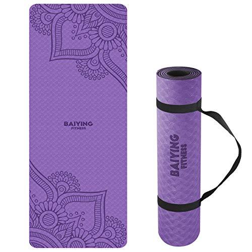 BAIYING Yogamatte, TPE Gymnastikmatte rutschfest Fitnessmatte für...