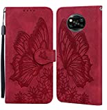 JRIANY Hülle für Xiaomi Poco X3 NFC/Poco X3 Pro Lederhülle Brieftasche Handyhülle mit Schmetterling Blume Muster PU Leder Tasche Hülle Klapphüllen Standfunktion Magnetver Stoßfest Schutzhülle, Rot