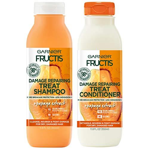 Garnier Fructis Damage Repairing Treat Shampoo and Conditioner, 98 Percent Naturally Derived Ingredients, Papaya, Nourish Dry Damaged Hair, 11.8 oz ea