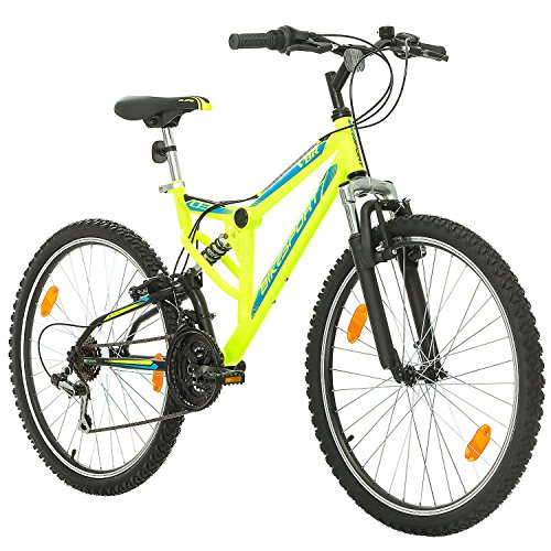 Bikesport Fahrrad MTB Mountainbike Fully Full Suspension 26 Zoll Parallax Shimano 18 Gang (Neongrün)