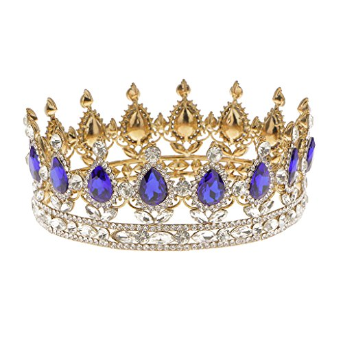Reina del Rey Novia Tiaras Diamantes de Imitación Corona Oro Plateado Joyería del Pelo - Azul