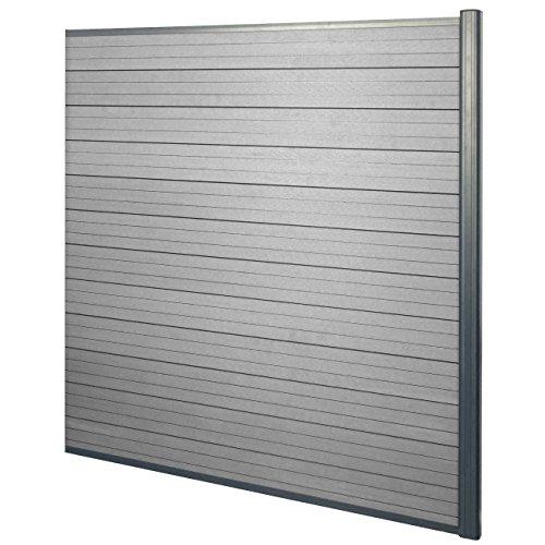 Mendler WPC-Sichtschutz Sarthe, Windschutz Zaun, Alu-Pfosten ~ Erweiterungselement, 1,85m grau