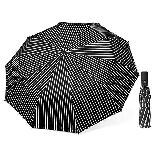 AIWKR Draagbare Reisparaplu, Volledig Automatisch Opent en sluit Schermbedekking 10 Botten Parasol Parasol Paraplu Winddicht 104cm