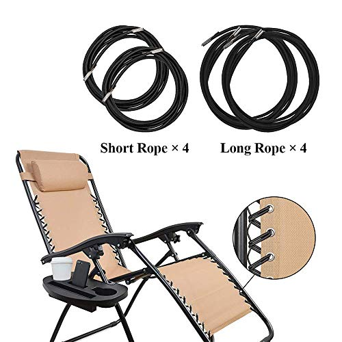 L7HWDP Replacement Cords for Zero Gravity Chair 4 Pack for Sun Loungers, Garden Chairs, Outdoor Recliners, Anti Gravity Chair, Bungee Chairs(Black)