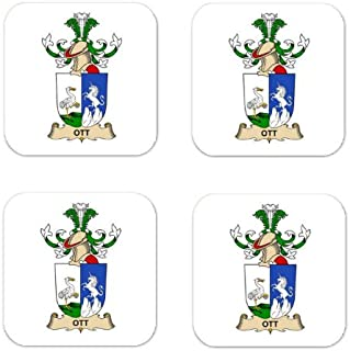 Ott Family Crest Square Coasters Coat of Arms Coasters - Set of 4
