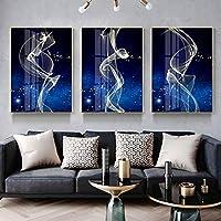 WENJUN 絵画,壁画 アート・オン・ウェーブ抽象アートプリント画像デジタル絵画キャンバス壁アートアートワーク用ホームリビングルームオフィス、3ピース、6色、4サイズ (色 : C, サイズ さいず : 70*100cm)