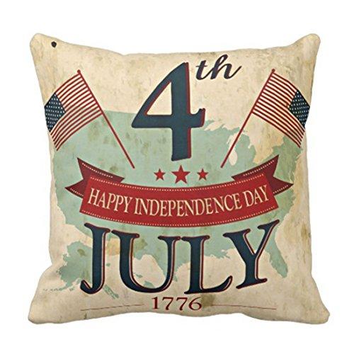 Funda de almohada rústica para el día 4 de julio de la Independencia de moda, decoración del hogar, cuadrada, 45,7 x 45,7 cm
