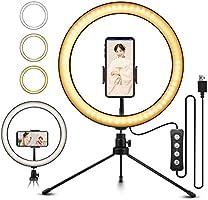 LED環形燈 自拍燈 10.2英寸 鋁合金外殼ELEGIANT 攝影用定常光燈 輔助光 160個LED串珠 3色11級照明模式 2700-5500K 自拍燈 攝像機 美容化妝 智能手機支架 三腳架支架 直播 YouTube