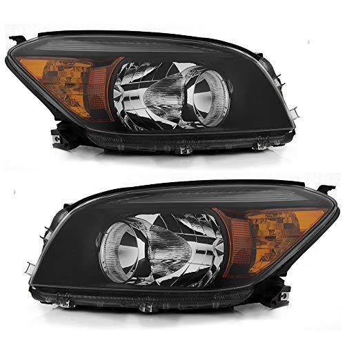 ACANII - For 2006 2007 2008 Toyota RAV4 Black Housing Headlights Headlamps Replacement 06-08 Set Driver & Passenger Side
