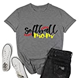 YUYUEYUE Softball Mom Letter Print T-Shirt Womens O-Neck Short Sleeve Top Tee (Medium,Gray)
