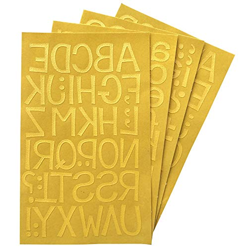 Magfok Iron-on Letters for Fabric Transfer 1.4 Inch Uppercase & Lowercase 4 Sheet (Gold)