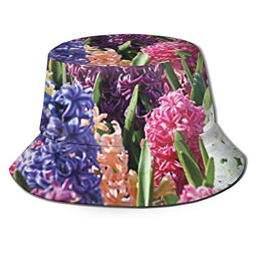 Eimer Hut Eimer Hüte Stauden Blumen Muster, Fischer Hut Unisex, Freizeit Reisen Strand Sonnenhut, Atmungsaktive Kappe UV-Schutz Schwarz