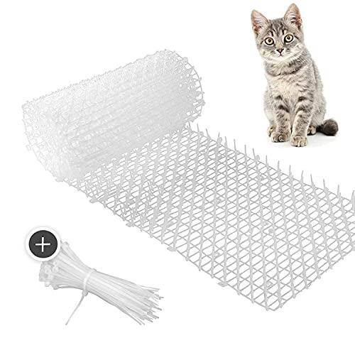 Transparente Katzenabwehr Matte - 2m Lange Matte mit Spikes zur friedlichen Abwehr von Katzen und weiteren Tieren - inklusive 30 Kabelbindern zur Befestigung auf Gegenständen und Möbeln