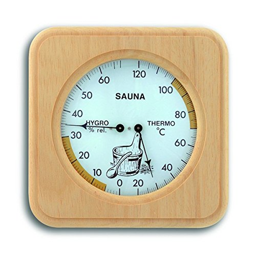 TFA Dostmann Analoges Sauna-Thermo-Hygrometer, mit Holzrahmen, Temperatur, Luftfeuchtigkeit, hitzebeständig