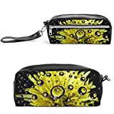 Cascadas flores y árboles, bolsa de cosméticos de viaje grande para mujer, neceser de viaje y cosméticos bolsa de maquillaje con muchos bolsillos, Negro-estilo-3, 20*10*5.5cm,