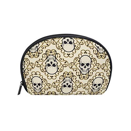 Borsa da viaggio a forma di teschio con ornamento, borsetta per cosmetici a forma di conchiglia marina