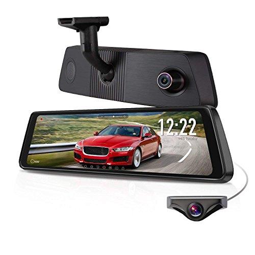 "X1PRO Rear View Mirror Dash Cam 9.88"" Full Touch Screen Dual Lens"