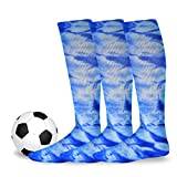 Soxnet Cotton Unisex Soccer Sports Team Socks 3 Pack, Tie Dye Royal, 11-Sep