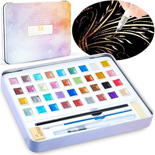 Tomorotec 36 Pearlescent Glitter Colors Watercolor Paint Set, Portable Watercolor Palette for Kids Children with Brushes, Refillable Water Blending Brush Pen,Sponges, Eraser, Pencils