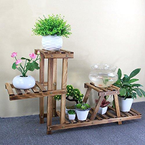 Fleur Pot Étagère Bois Fleur Stand Maison Intérieur Balcon Bassin En Pot Cadre Plante Cadre Pliant Cadre 80 * 25 * 57 cm (Couleur : Carbon baking color)