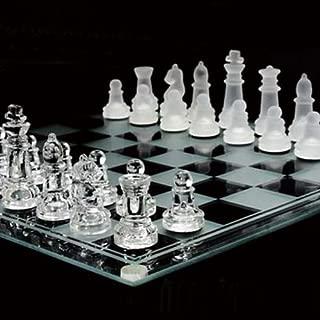 【ノーブランド品】クリア&フロスト(透明&薄白色) オールガラス製 チェスセット ドラマ『相棒』の劇場版の中で小道具として使用!!