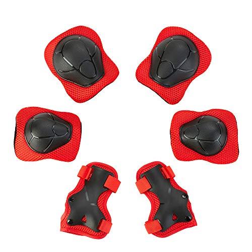 skybulls Knieschoner Kinder, Knieschützer Ellenbogenschützer Handgelenkschoner Schoner Set Kinder Skater Schützerset für Roller Inliner, Skateboard (rot)