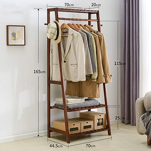 Perchero de pie Colgador de piso de diseño trapezoidal, perchero de abrigo simple hecho de madera de pino, perchero de ropa de 146 cm de altura, percha de dormitorio fácil de montar percheros pared