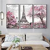 Cuadros de lienzo de arte de pared de torre de París cuadros para decoración de sala de estar-40x80cmx3 piezas sin marco