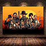 shuimanjinshan Red Dead Redemption 2 Juego Lienzo póster Pared Arte impresión Pintura Papel Tapiz Decorativo Cuadro de Pared para Sala de Estar (Py-933) 50x70cm No Frame