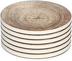 LIFVER Coasters for Drinks Absorbent, Ceramic Stone Coaster Set of 6, Coasters for Wooden Table,Timber Texture Pattern