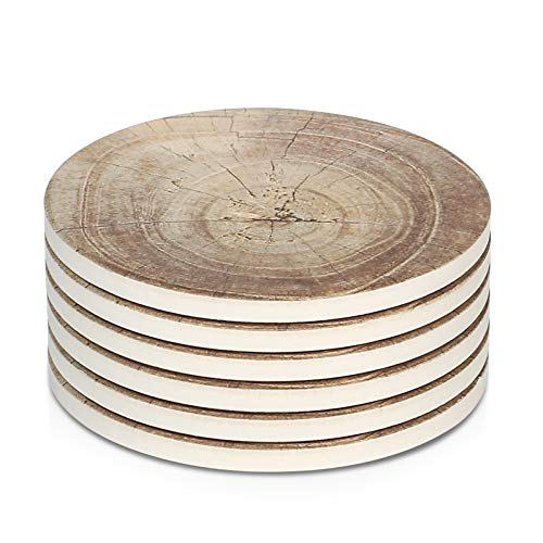 LIFVER 6 Pieces Ceramic Drink Coasters, Absorbent Stone Coaster Set, Timber Texture...