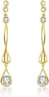 Italina Women's Earrings Girls Long Chain Threader White Round Cubic Zirconia Long Tassel Strand Dangle Earrings Gold Plated